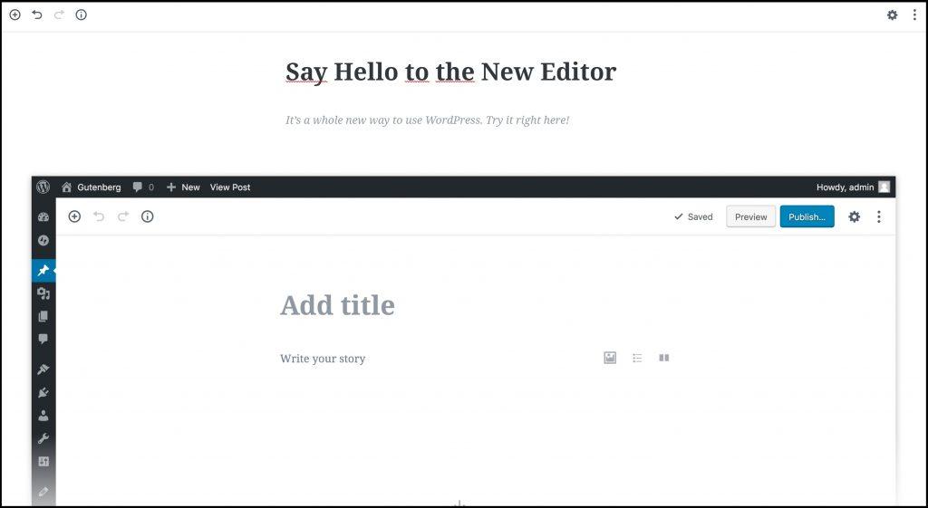Nieuwe editor Wordpress voorbeeld