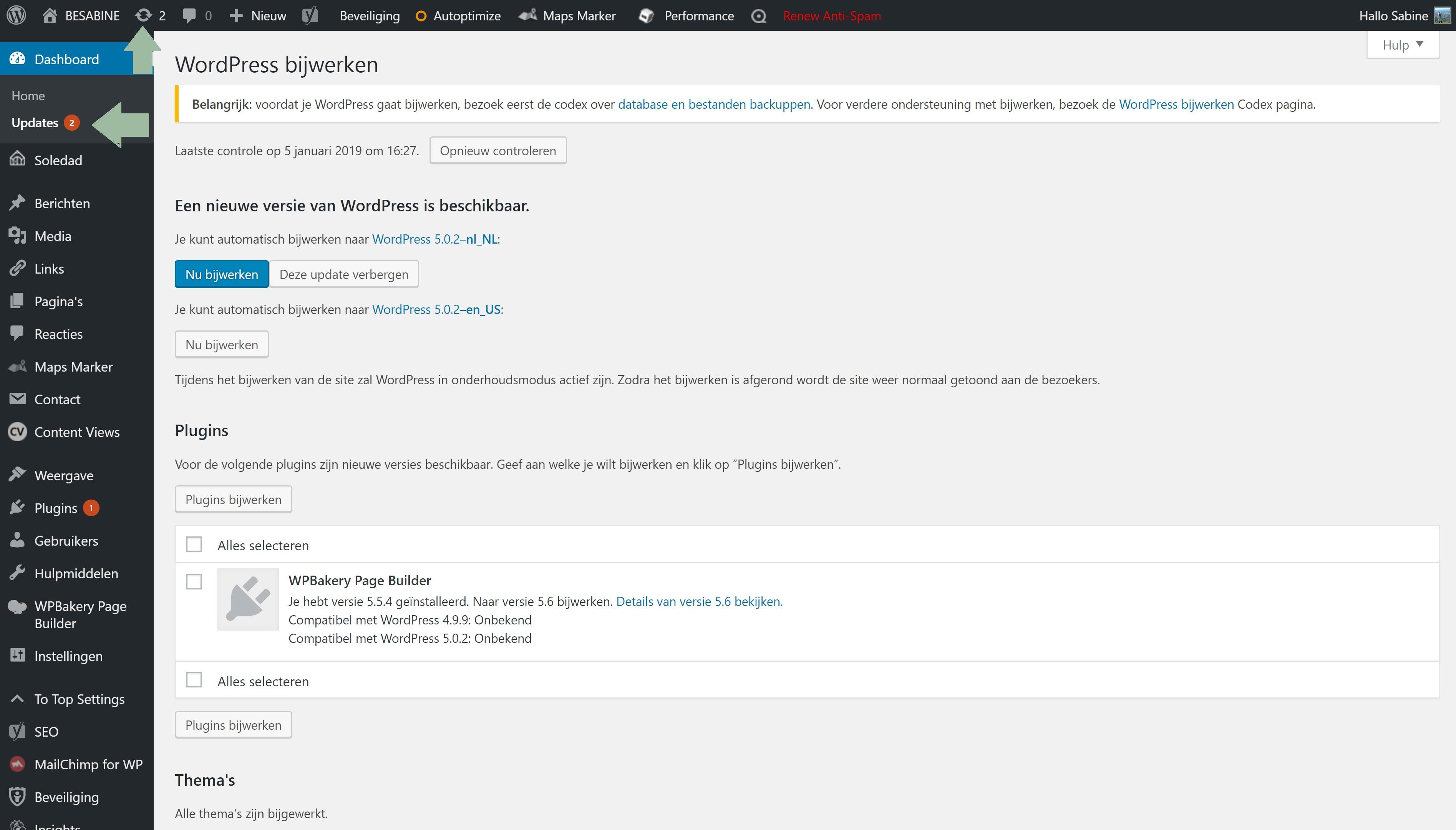 WordPress updaten veilige website