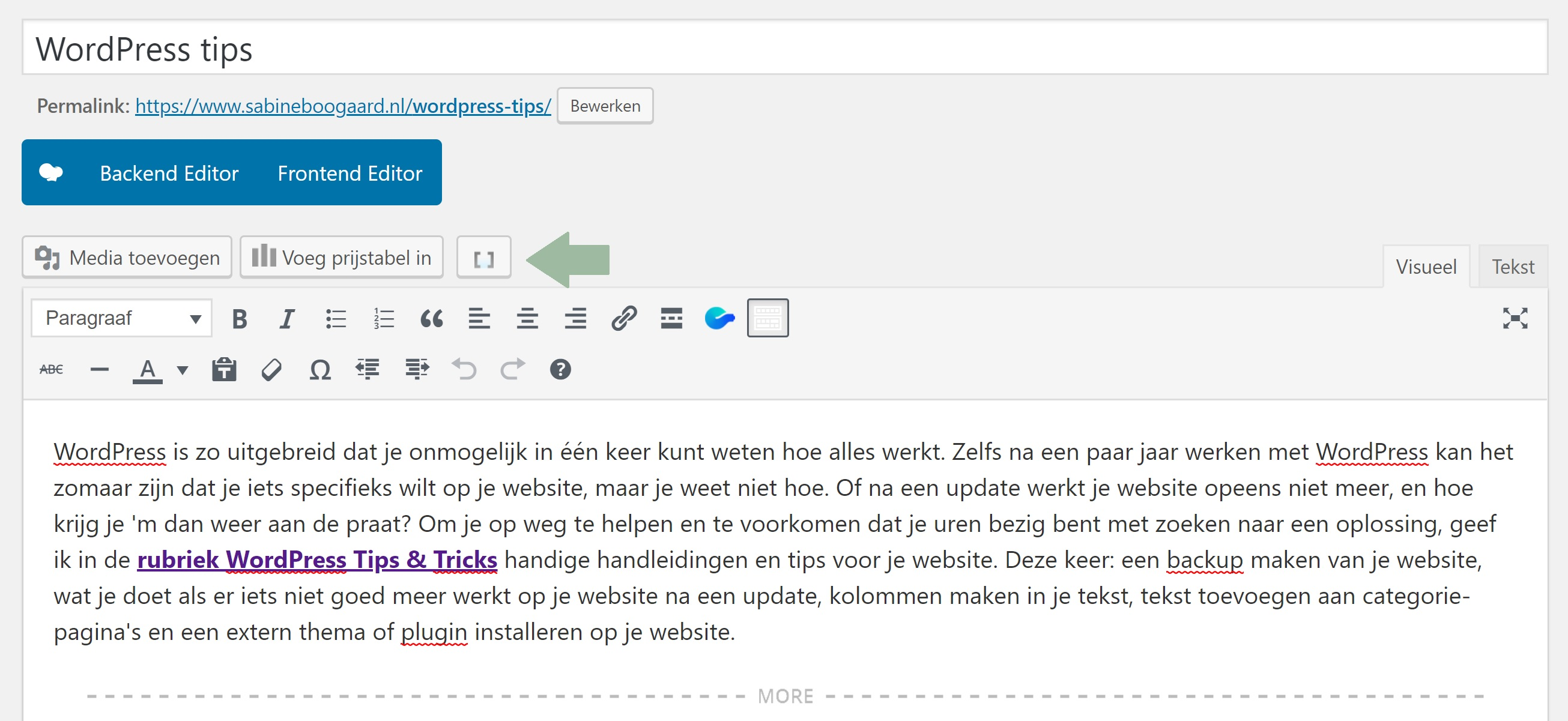Maak kolommen in wordpress blog