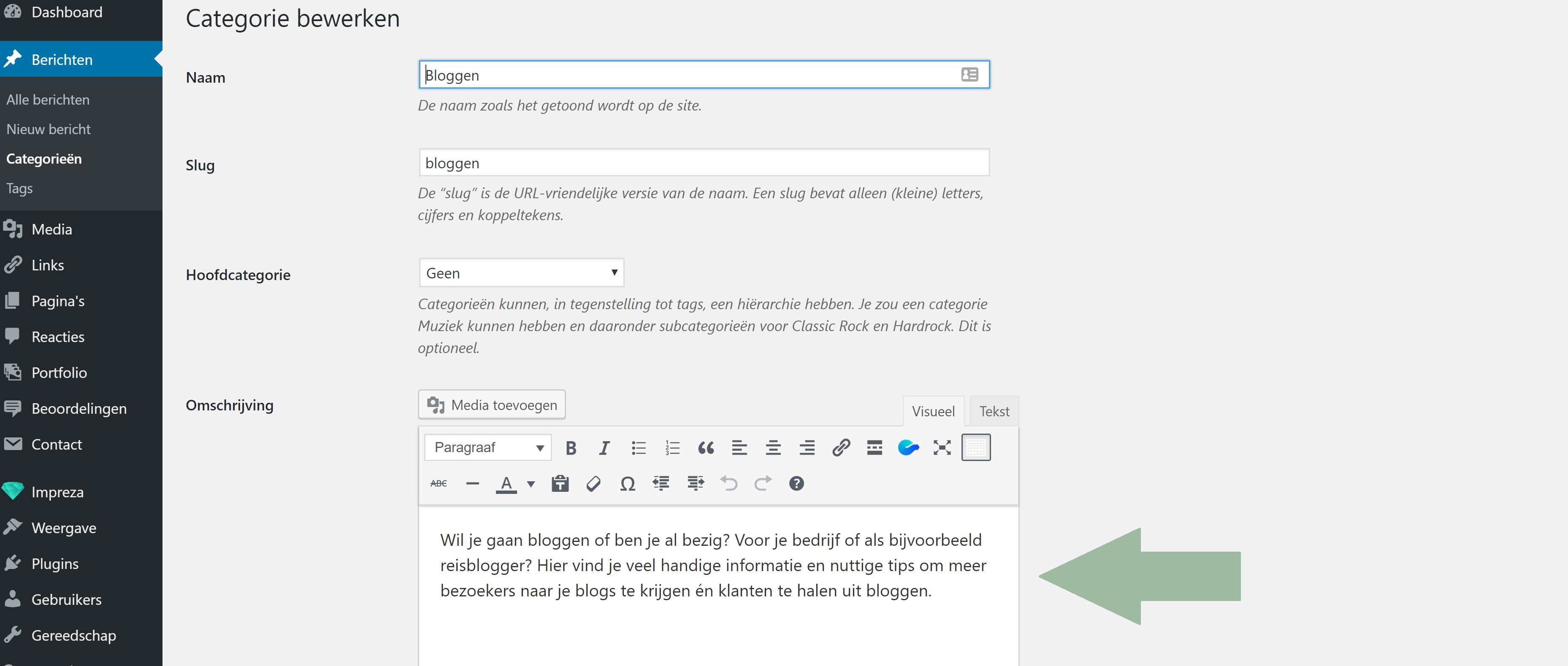 Tekst toevoegen aan WordPress categorieën