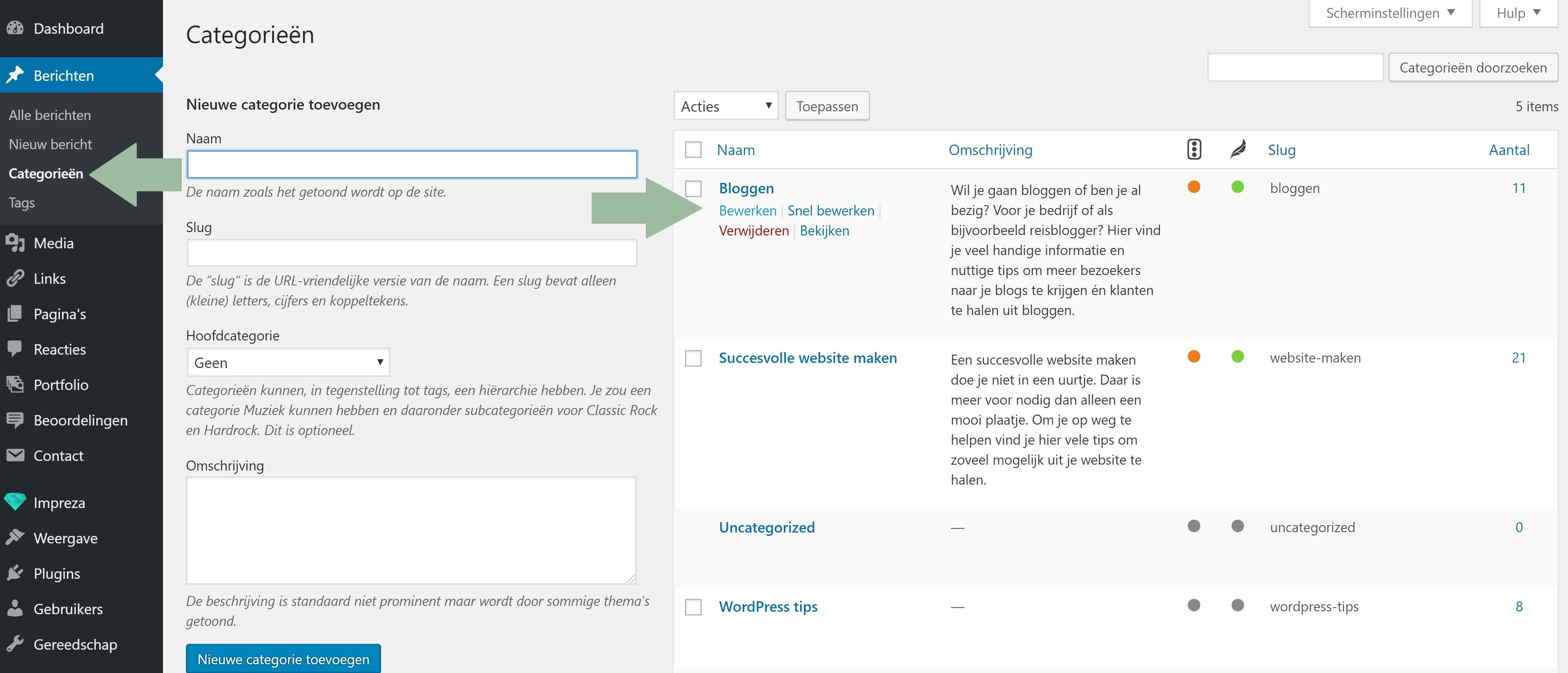 WordPress categorieën aanpassen