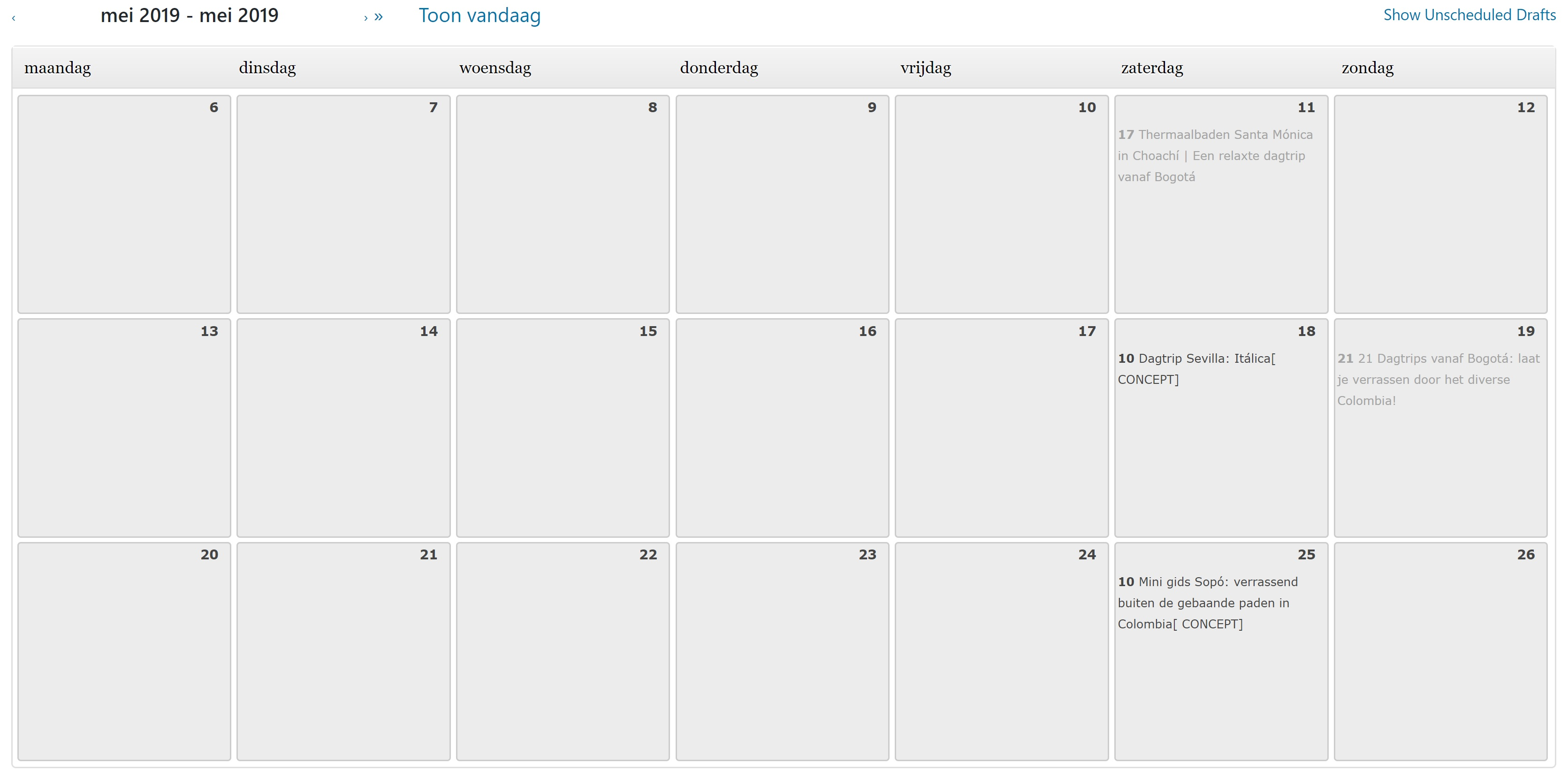 Wordpress blog kalender inplannen